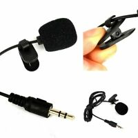 1Pcs For Computer PC Black 3.5mm Hands Free Clip On Mini Lapel Mic Microphone