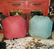 Decorative Throw Pillows 25x25 Two Toned Red on one side. Turquoise on the flip