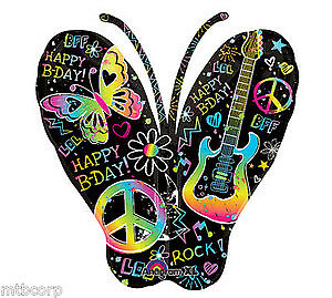 NEON 60's Groovy Peace Guitar Teen Graffiti Butterfly Birthday Party Balloon