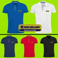 New Holland Polo T Shirt Logo Brodé Slim Fit Hommes Tracteur Agriculture Fermier
