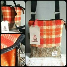 HARRIS TWEED SHOULDER BAG CROSSBODY ORANGE CREAM BROWN HERRINGBONE DOGWALKING