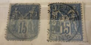 France 1876 15c blue Peace and Comerce . Stamp Collection . Used