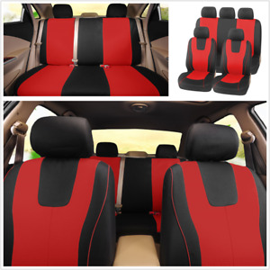 9Pcs Polyester Fabric Seat Cover Universal Fit For 5-Seats Car Front + Rear Seat
