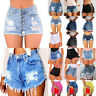 Womens Distress Ripped High Waisted Denim Shorts Summer Stretchy Hot Pants Jeans