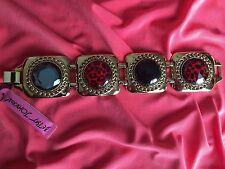 Betsey Johnson Vintage Black Lucite Red Leopard Gold Chain Square Bracelet RARE