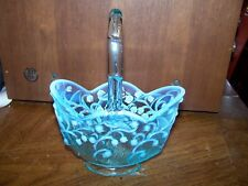 """Fenton Glass Blue Opalescent Lily Of The Valley 8"""" Basket"""