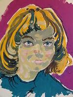 KARL HOLSTEIN (1912-2003) Acryl-Gemälde : DAMEN- POTRAIT: MARUS-??? (siehe Foto)