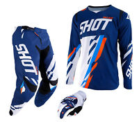 2019 SHOT SCORE PANT & JERSEY MOTOCROSS ENDURO MX COMBO KIT BLUE KTM NEON ORANGE