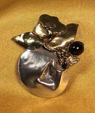 Vintage 925 Fine Sterling Silver/bronze Floral Brooch Pin