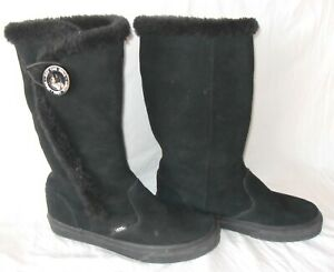 Vans Phoebe Women's Size 8 Black Tall Suede Faux Fur Lined Winter Boots TB4R