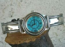 "Ecclissi Turquoise Dial Sterling And Leather Bracelet Watch 6.5"" Wrist New Batte"