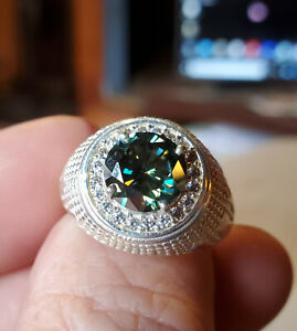 US SELLER  5.34-Ct. Rich Green Diamond Solitaire in Gent's Knockout Ring