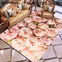 3D Carpet Rose Flower Rug Carpet Antislip Living Room Carpet Large Room Mat