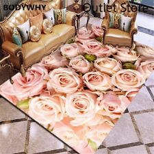 3D Carpet Rose Flower Rug Carpet Antislip Living Room Carpet Large Room Mat