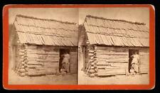 Ga. Happy Little N. Mother & Baby posing in front of their Log Cabin. Savannah