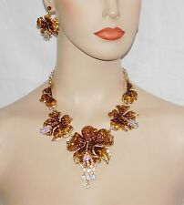 GOLD, BROWN & AB RHINESTONE CRYSTAL ORCHID FLOWER NECKLACE AND EARRINGS SET