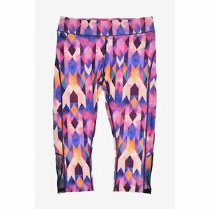 Reebok Womens WWC Printed Novelty Capri Pants Prism Multi Size Small