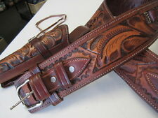 CALIBER 44/45 LONG BARREL COWBOY FAST DRAW GUN HOLSTER TOOLED LEATHER RIGHT HAND