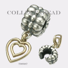 Authentic Pandora Silver & 14K Gold Heart of Hearts Clip 790987