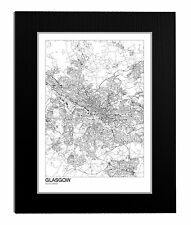 MOUNTED and or FRAMED MODERN MAP ROAD PRINT OF GLASGOW - 3 SIZES ART GIFT