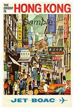 VINTAGE HONG KONG BOAC TRAVEL A4 POSTER PRINT