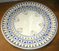 "Gorgeous Rothwoman Folk Art Pottery Platter! Brown & Blue Hand Painted, 14"""