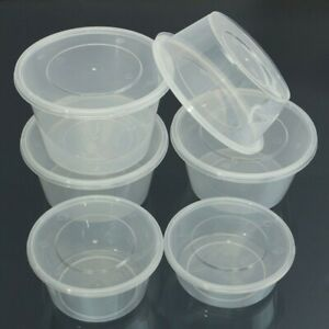 50 x Takeaway Containers with Lids Clear Round Plastic Food Containers Microwave