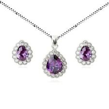 18K WHITE GOLD PLATED GENUINE PURPLE CUBIC ZIRCONIA NECKLACE AND EARRING SET