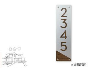 Modern House Numbers, Brushed Silver with Walnut Alucobond - Vertical 4 - Sign