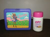 VINTAGE 1990 MATTEL PLASTIC BARBIE PURPLE LUNCH BOX with THERMOS