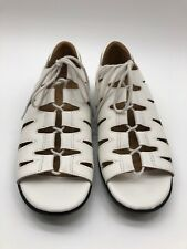 Array Womens Flat Leather Sandals White Size 8.5N