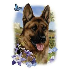 GERMAN SHEPHERD Dog with Flowers on ONE 18 x 22 in Fabric Panel to Sew. SALE!