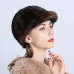 Women's Real Mink Fur Hat Winter Warm Cap Beanies Peaked Headgear Dicer Beret