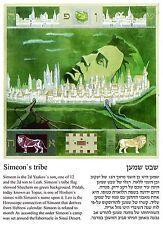 Leo, the tribe of Simeon, Topaz birth stone, Jewish Horoscope postcard.