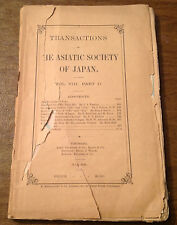 May 1880 Transactions of Asiatic Society Japan Vol. VIII No. II Map, Uncut Pages