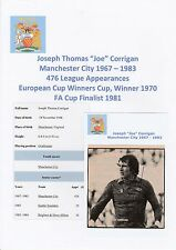 JOE CORRIGAN MANCHESTER CITY1967-1983 ORIGINAL HAND SIGNED MAGAZINE CUTTING