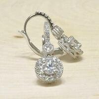 2Ct Round Cut VVS1/D Diamond Pretty Drop & Dangle Earrings 14K White Gold Finish
