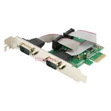 PCI-e Express 2-Port DB-9 RS-232 Serial Port COM Controller Card Adapter win 10
