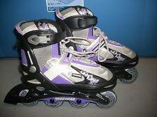 Mongoose Inline Skates Roller Blades Gray/ Purple Adjustable Youth Sz 1 2 3 4