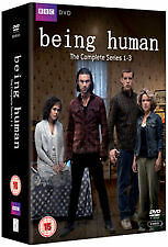 BEING HUMAN -THE COMPLETE SERIES 1-3 (DVD, 8-DISC SET) R-2,4, LIKE NEW,FREE POST