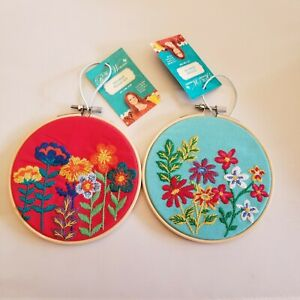 Pioneer Woman Stitched Floral Art Teal & Red Fabric  Embroidery hoop! 5 In. NEW