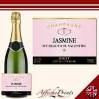 L71 Personalised Champagne Rose Pink Valentines Love Brut Bottle Label - Gift!