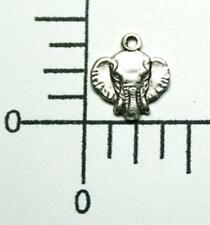 44724 4 Pc Matte Silver Oxidized Elephant Head Charm Brass Jewelry Finding