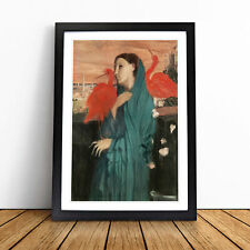More details for young woman with ibis birds by edgar degas wall art framed print picture