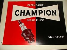 1957 Champion Spark Plugs Size Chart Sign Garage Catalog NOT Metal or Porcelain