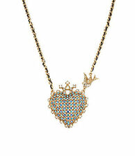 Betsey Johnson LARGE BLUE CRYSTAL HEART CROWN BIRD Charm Necklace in Box NEW NIB