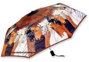 Laurel Burch COMPACT Umbrella Moroccan Mare Auto Open Close Lg Canopy Nw RETIRED