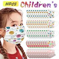 50-100x Kind Cartoon Muster Maske 3-lagig Mund Nase Hygienemaske Gesichtsvisier