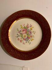 "Vintage China Plate Maroon Flowers 23 Karat Encrusted Gold Century By Salem 10"""