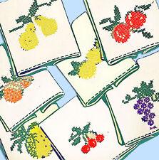 1950s VTG Aunt Martha's Embroidery Transfer 9360 Uncut X-Stitch Fruit Tea Towels